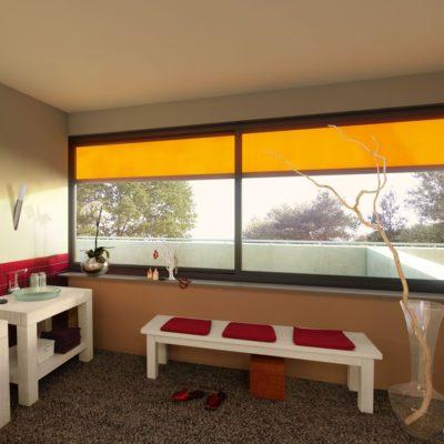 Fenster Markise in orange