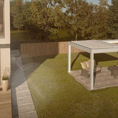 Freistehendes Lamellendach im Garten